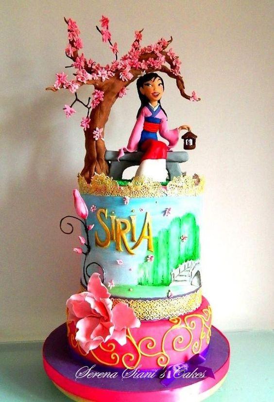bolo decorado mulan personalizado