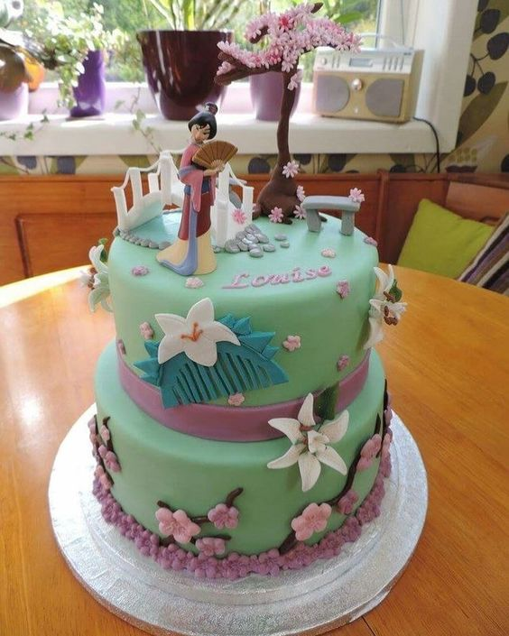 bolo decorado mulan verde