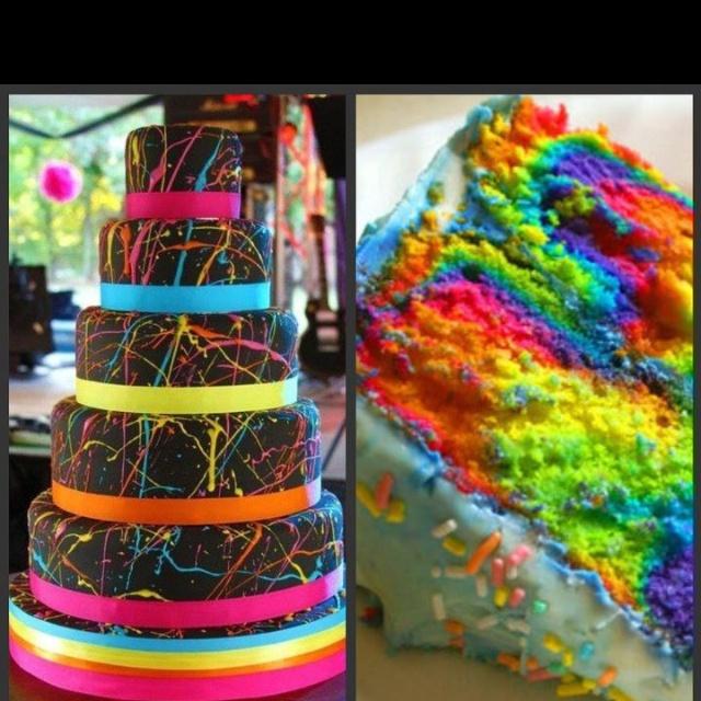 bolo decorado neon