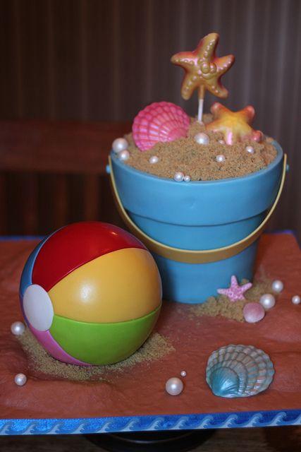 bolo decorado praia