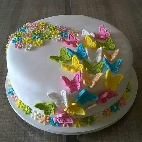 bolo decorado primavera borboletas