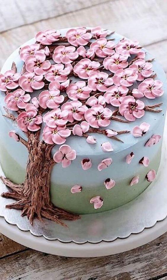 bolo decorado primavera