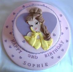 bolo decorado princesa bela redondo