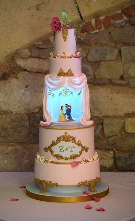 bolo decorado princesas bela fera