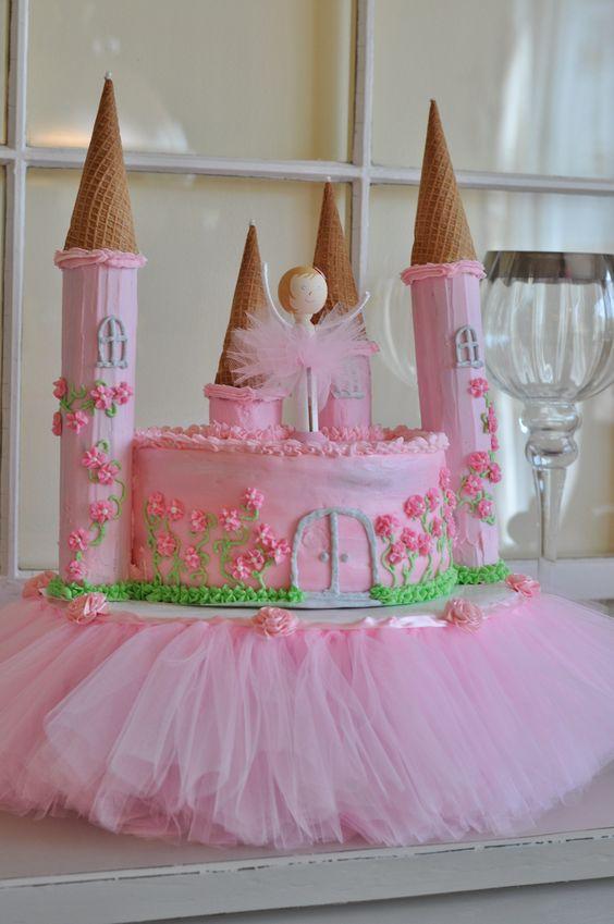 bolo decorado princesas tule
