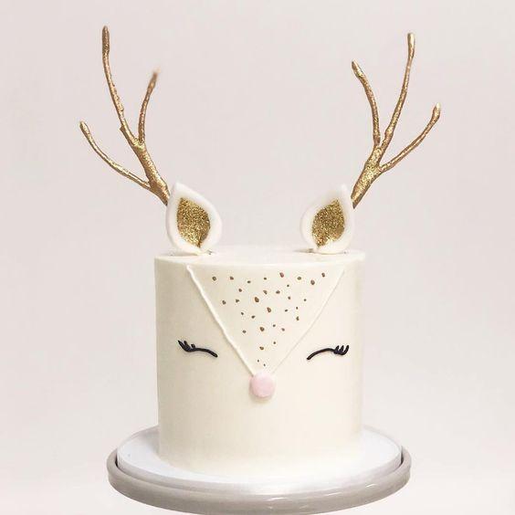 bolo decorado rena branco