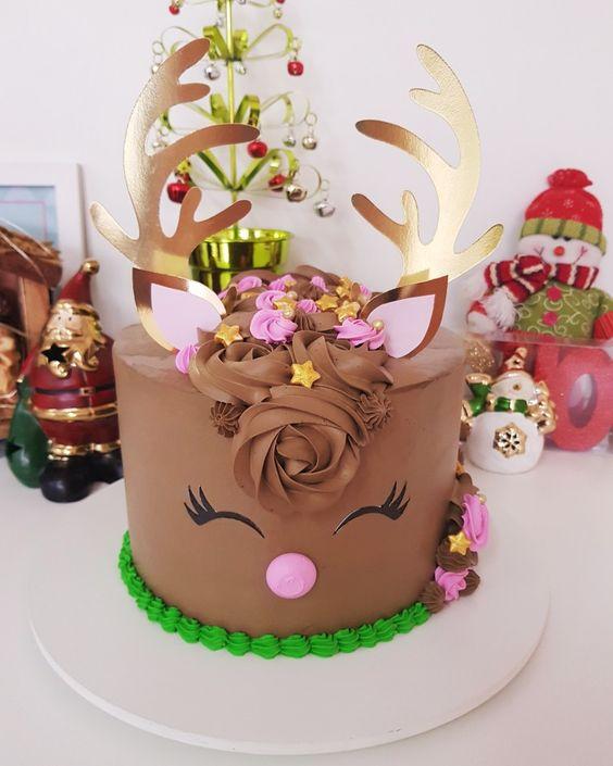 bolo decorado rena chocolate