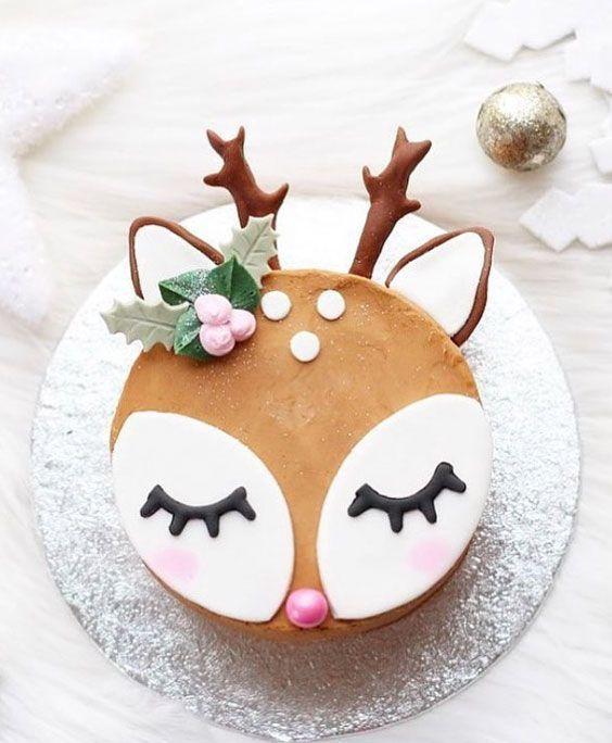 bolo decorado rena redondo