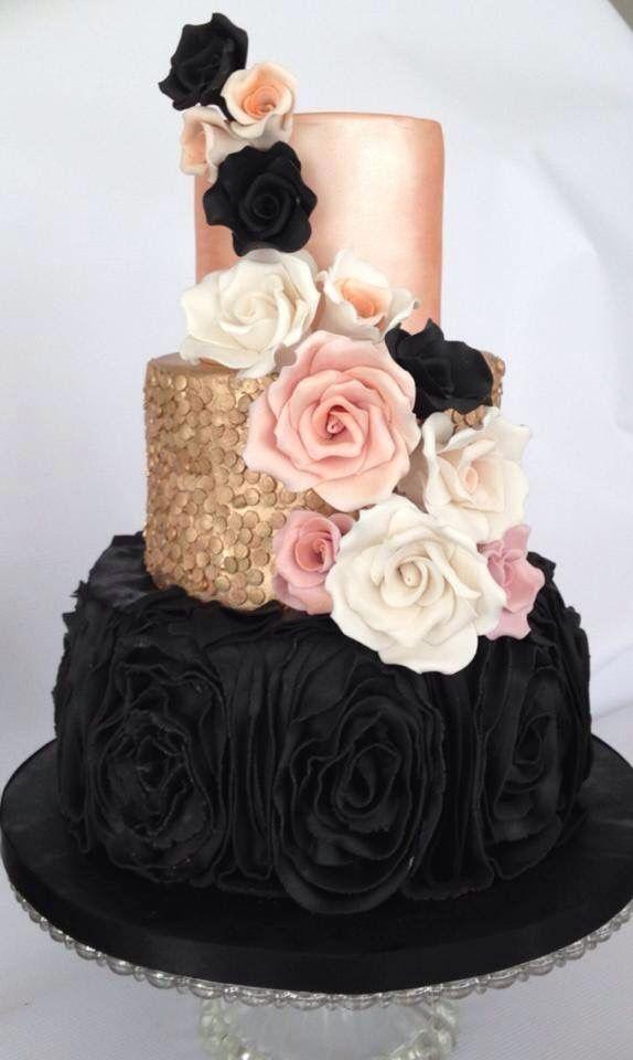 bolo decorado rose gold 8