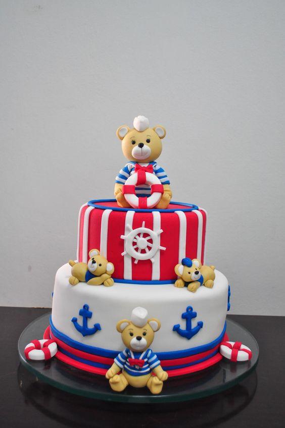 bolo decorado ursinho marinheiro 2