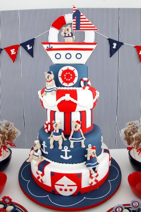 bolo decorado ursinho marinheiro 4