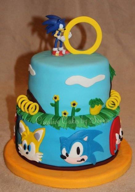 bolo do sonic decorado
