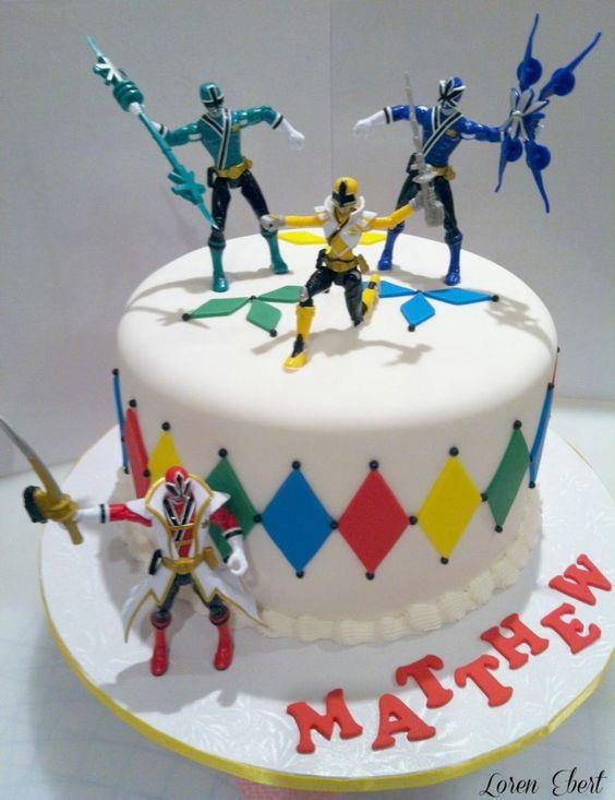 bolo festa Power Rangers branco