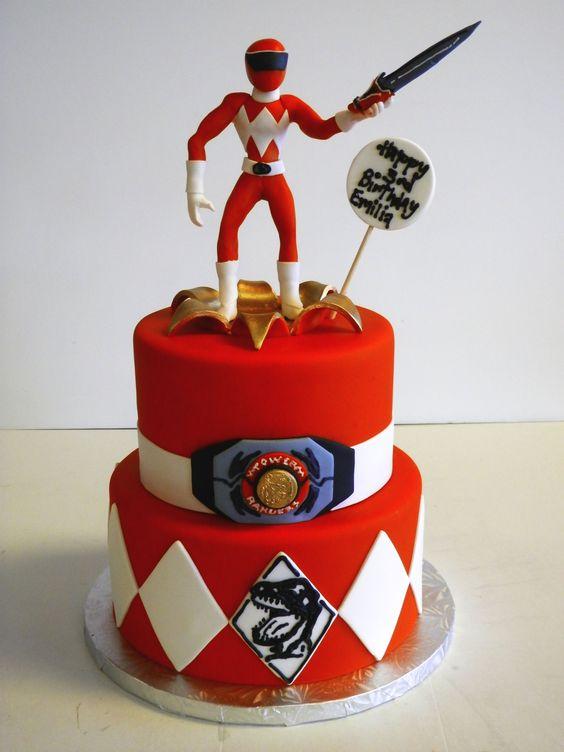 bolo festa Power Rangers vermelho