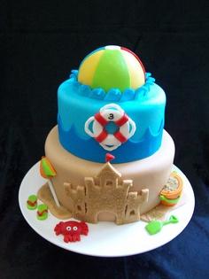 bolo infantil praia