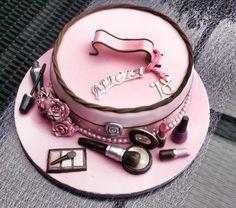 bolo maquiagem rosa