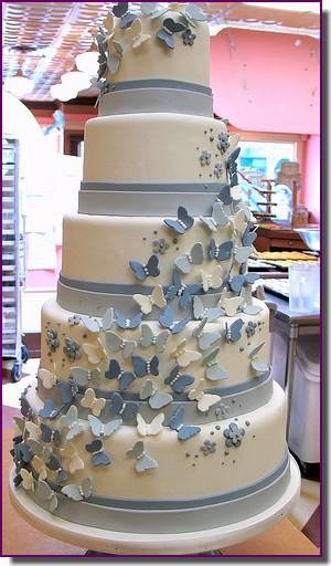 bolo noiva azul borboletas