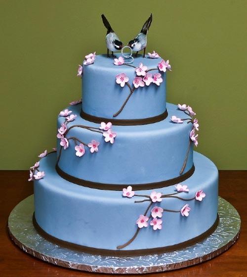 bolo noiva azul
