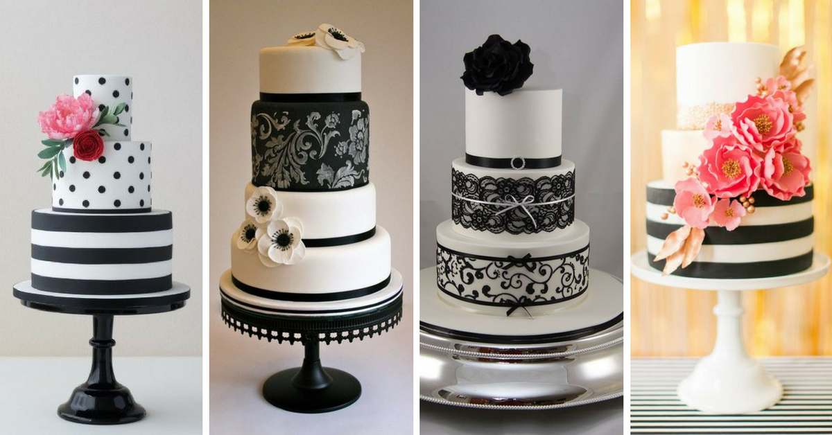 15+ Bolos de Casamento Preto e Branco