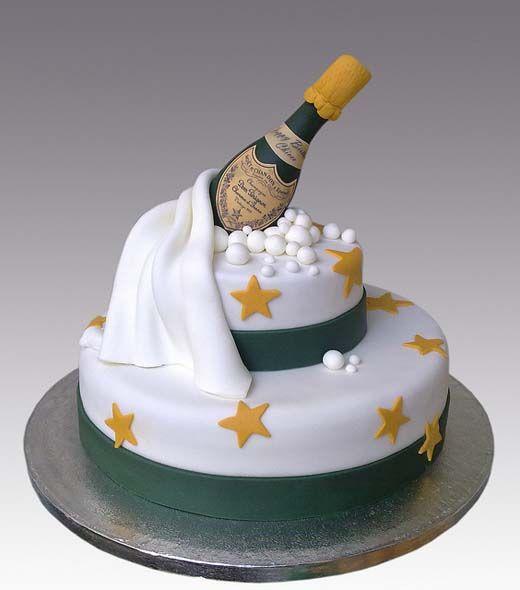 bolo passagem ano champanhe