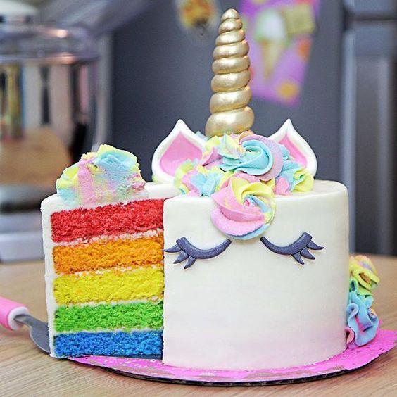 bolo unicornio colorido