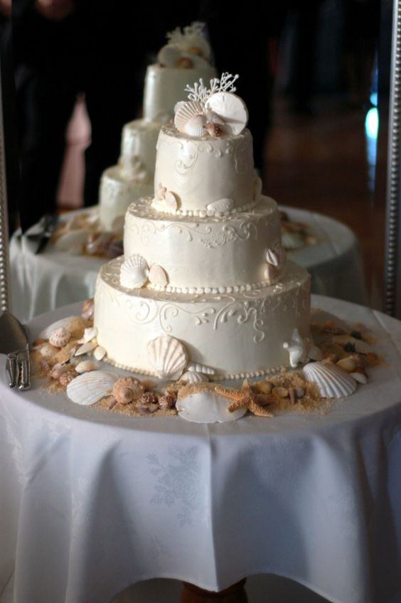 bolos casamento mar