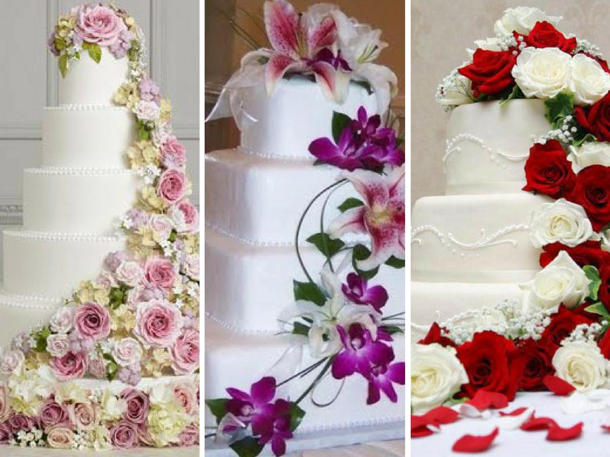 Bolos de Noiva Decorados com Flores