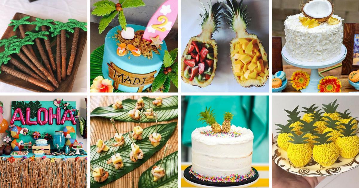 30 Ideias e Bolos para Festa Havaiana -> Decoração De Festa Havaiana Simples