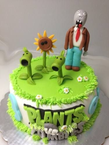 bolos decorados Plants vs Zombies 4