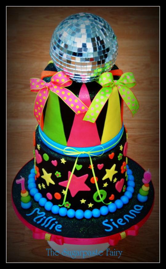 bolos decorados disco neon