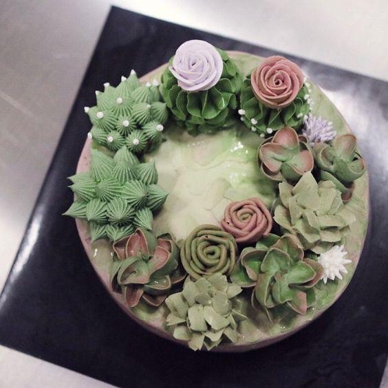 bolos decorados suculentas 12