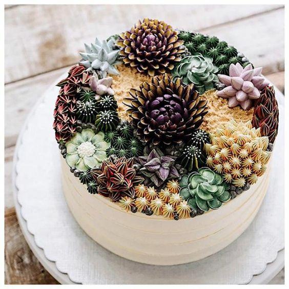 bolos decorados suculentas 2