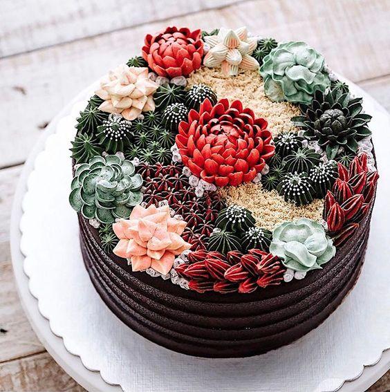 bolos decorados suculentas 4