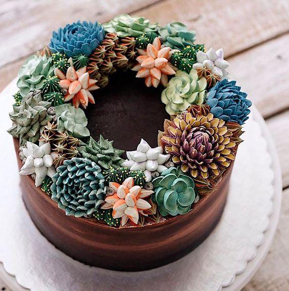 bolos decorados suculentas 6