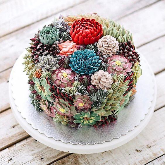 bolos decorados suculentas