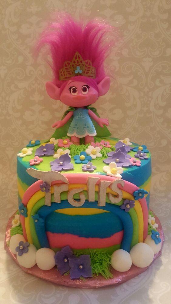 bolos decorados trolls 3