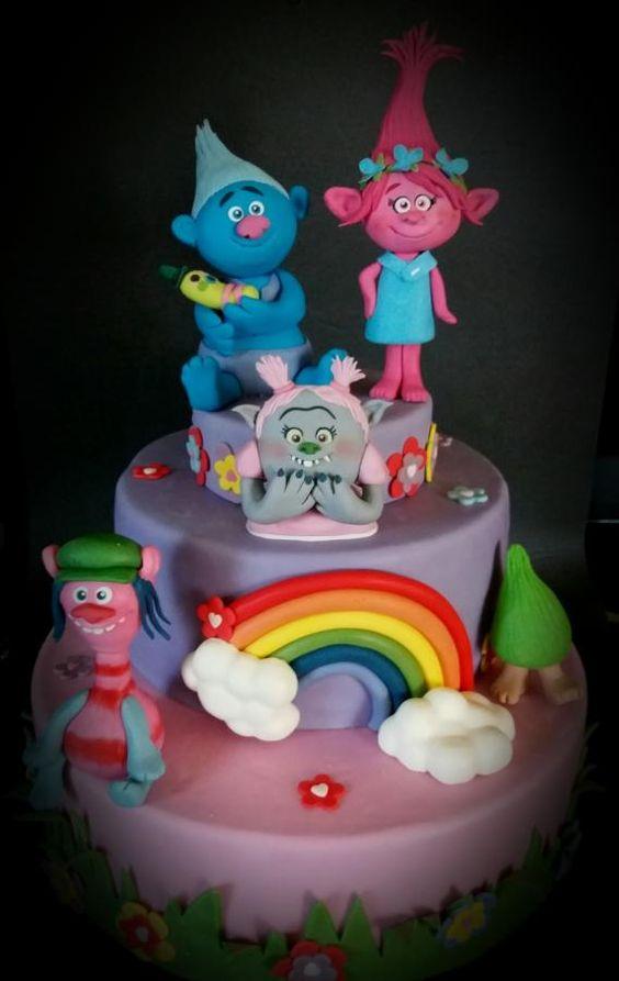 bolos decorados trolls 5
