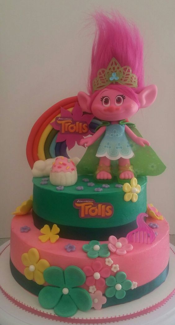 bolos decorados trolls 6