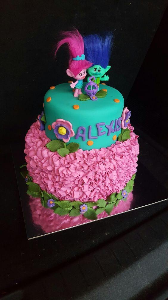 bolos decorados trolls 7