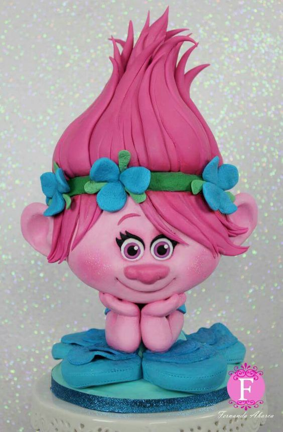 bolos decorados trolls
