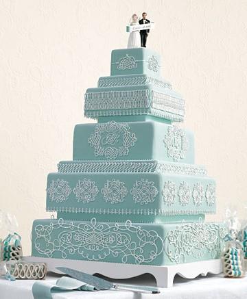 bolos noiva azul quadrado