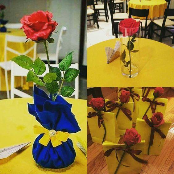 centro mesa festa bela fera