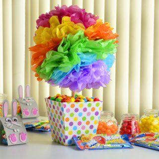 centro mesa festa colorida