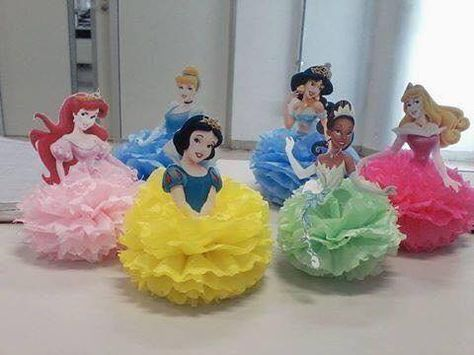 centro mesa festa princesas