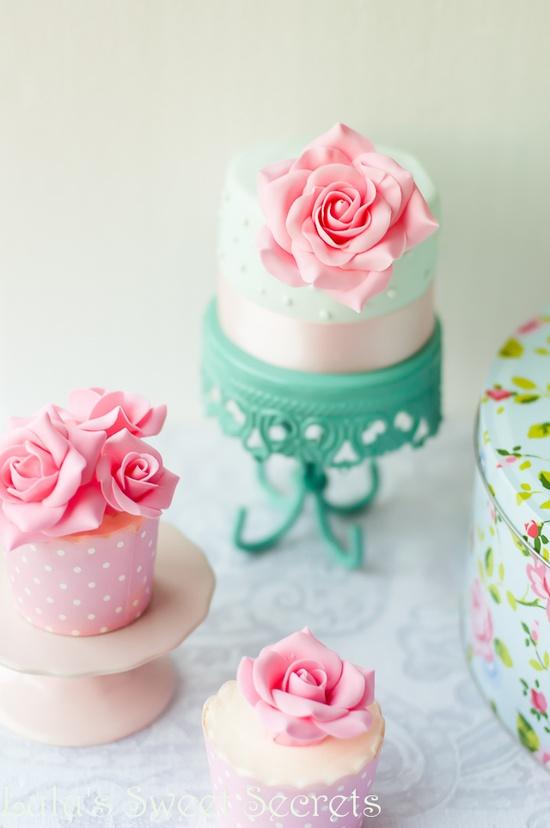 cupcakes com flores