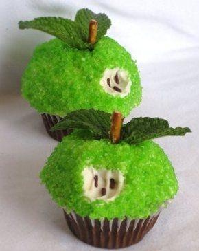 cupcakes frutas maca verde