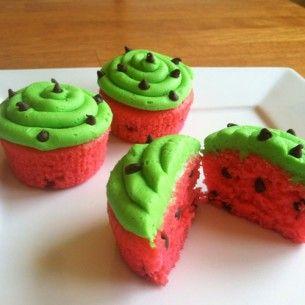 cupcakes frutas melancia vermelho