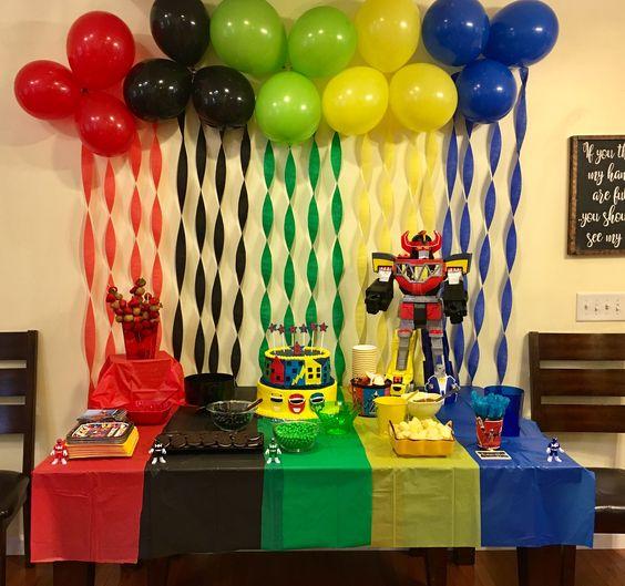 decoração festa Power Rangers bexiga