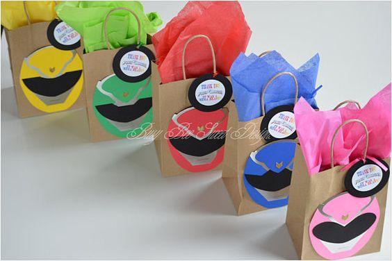 decoração festa Power Rangers sacolas