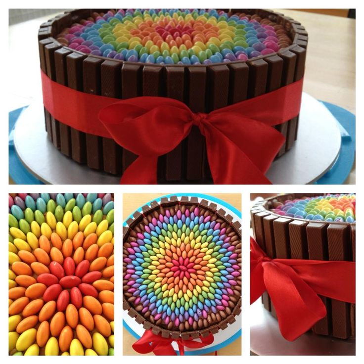 Como fazer bolo kit kat for Decorazione torte con smarties